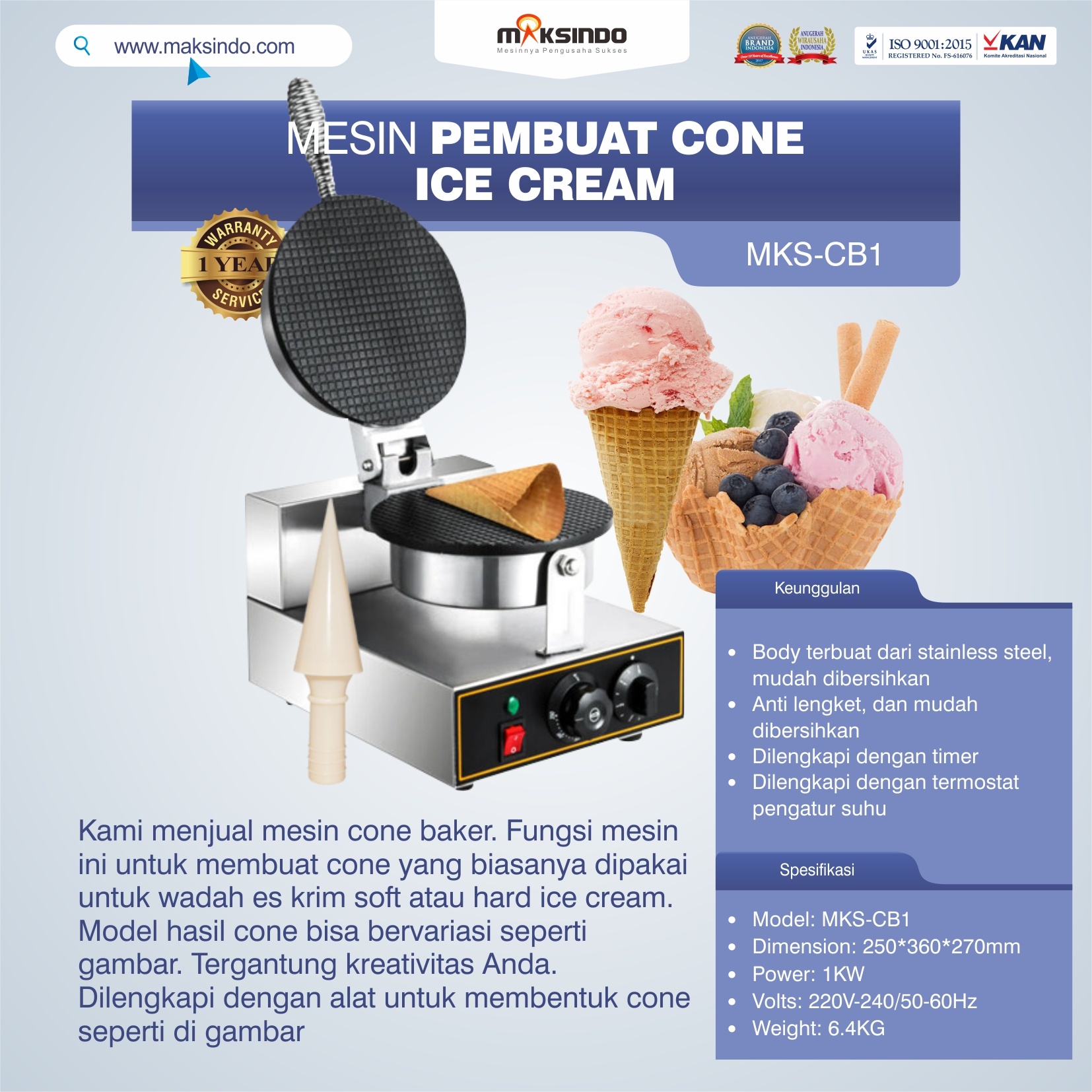 Jual Mesin Pembuat Cone Ice Cream (Cone Baker) di Bekasi