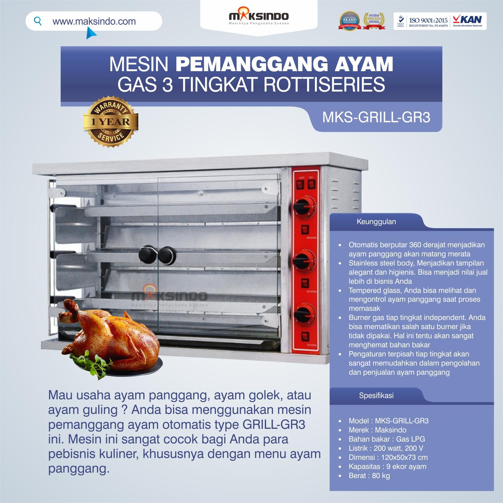 Jual Mesin Pemanggang Ayam Gas 3 Tingkat Rottiseries (GRILL-GR3) di Bekasi
