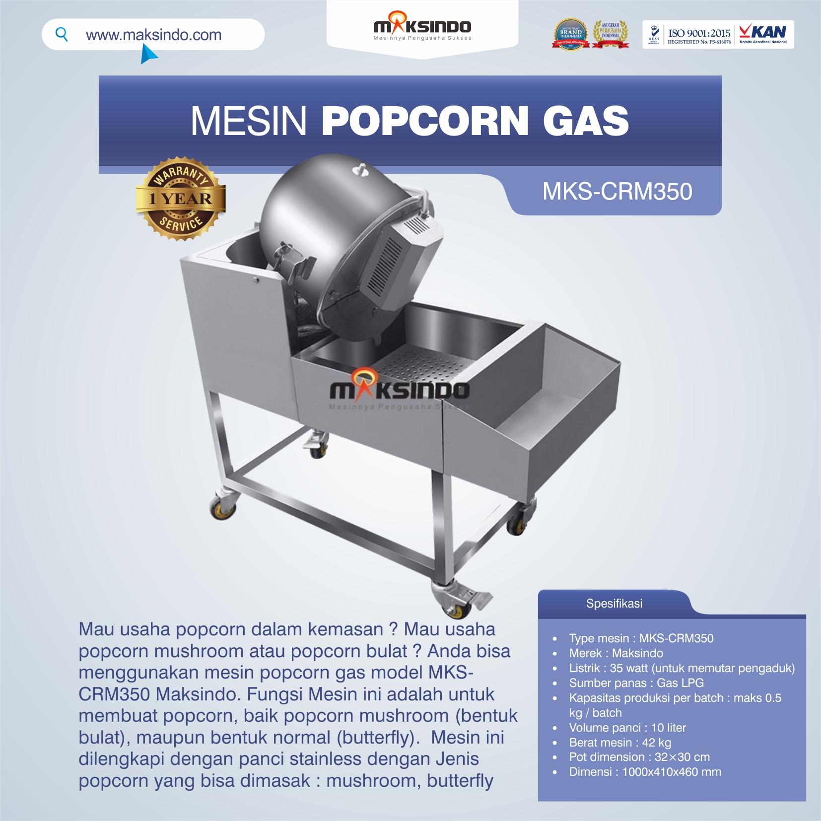 Jual Mesin Popcorn Gas Model MKS-CRM350 di Bekasi