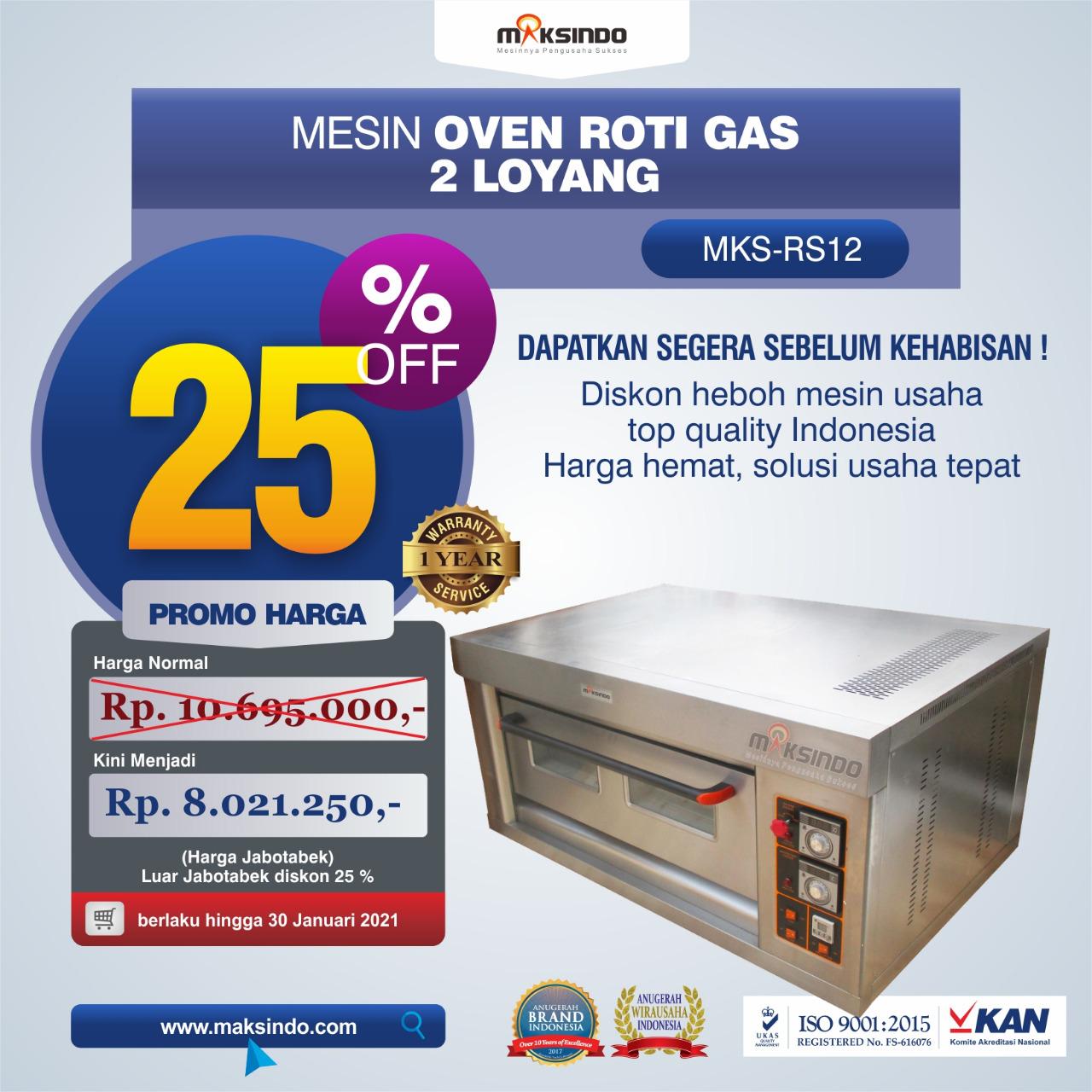 Jual Mesin Oven Roti Gas 2 Loyang (MKS-RS12) di Bekasi
