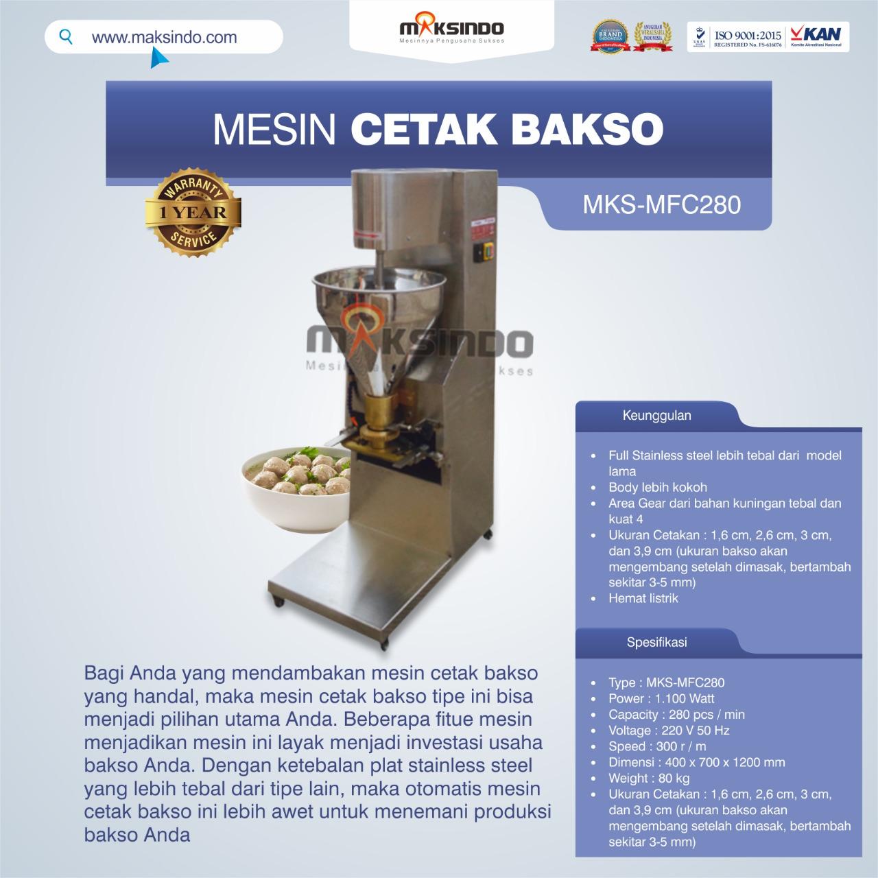 Jual Mesin Cetak Bakso MKS-MFC280 di Bekasi