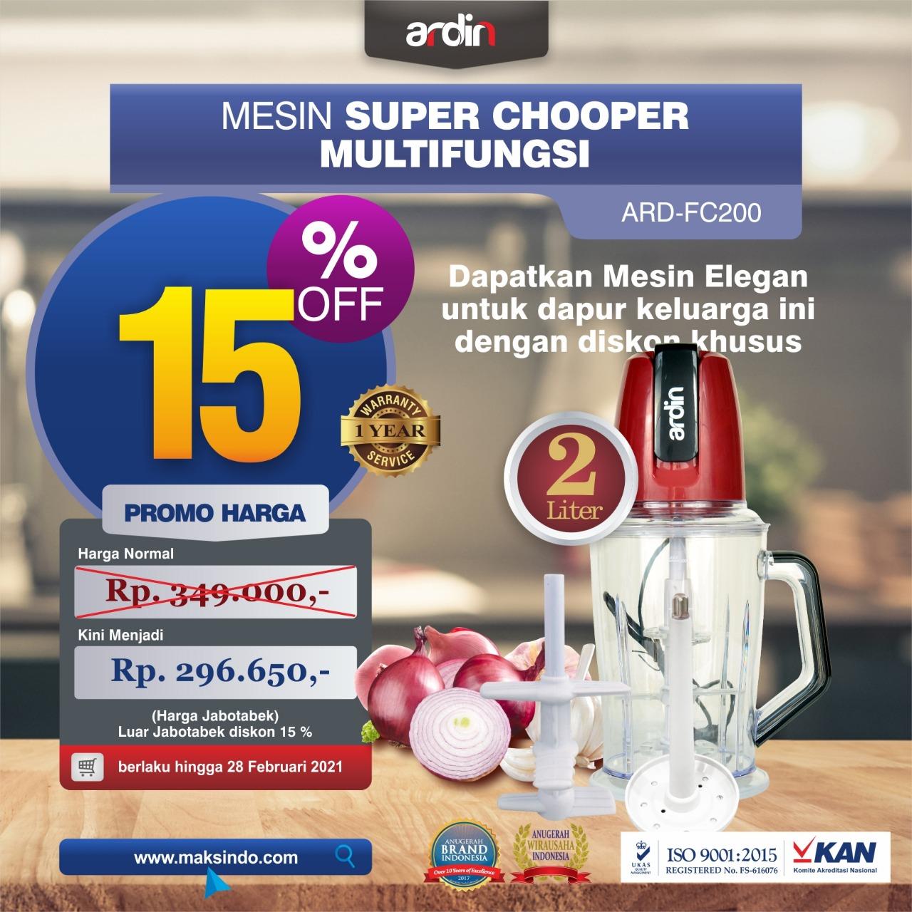 Jual Mesin Food Chopper Ardin Multi Fungsi ARD-FC200 di Bekasi