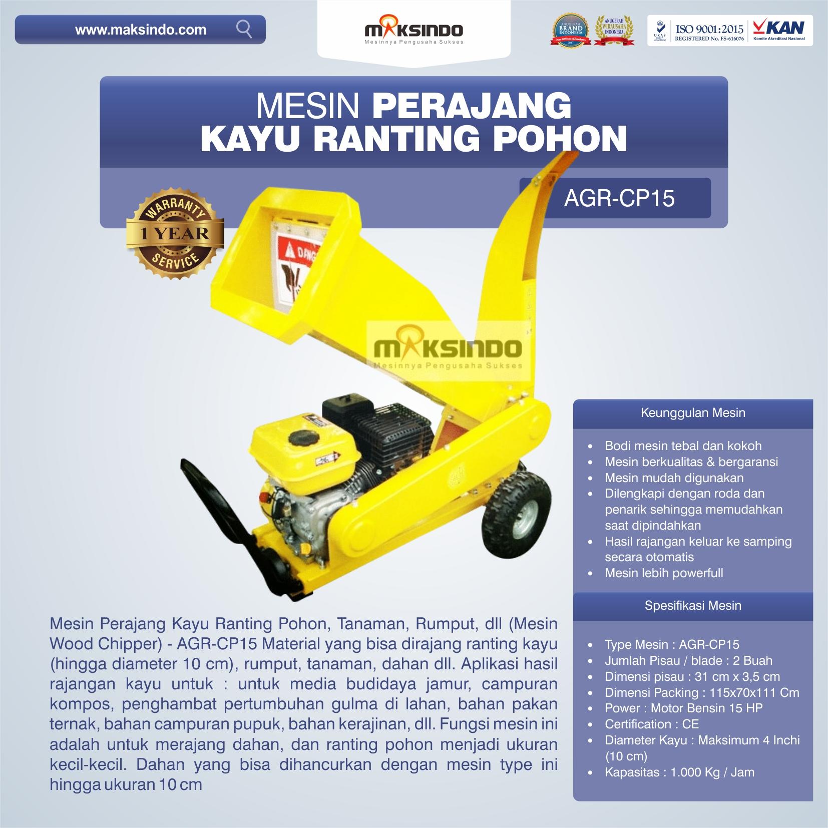 Jual Mesin Perajang Ranting dan Kayu Basah – AGR-CP15 di Bekasi