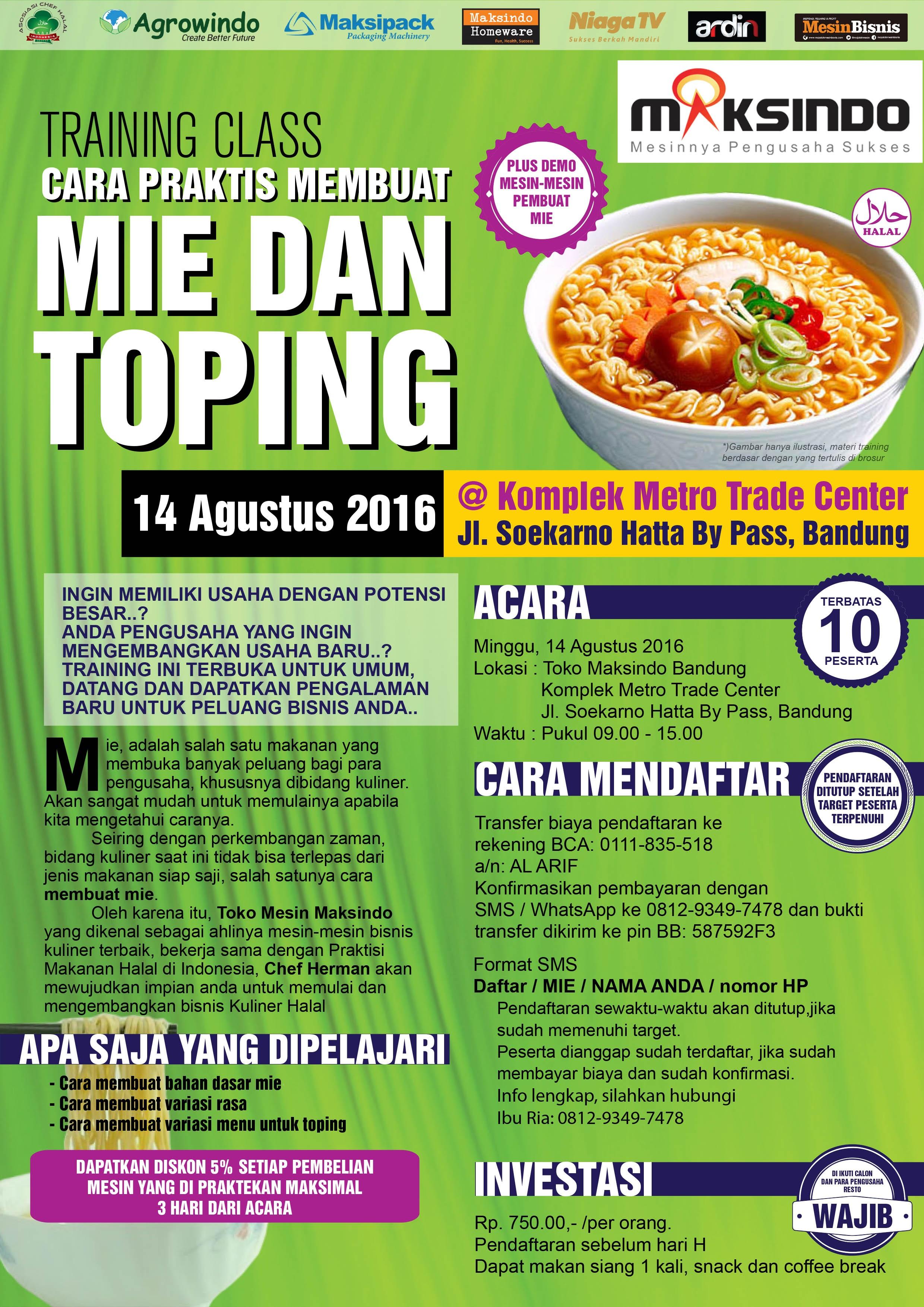 Training Usaha Mie dan Toping di Bandung, 14 Agustus 2016
