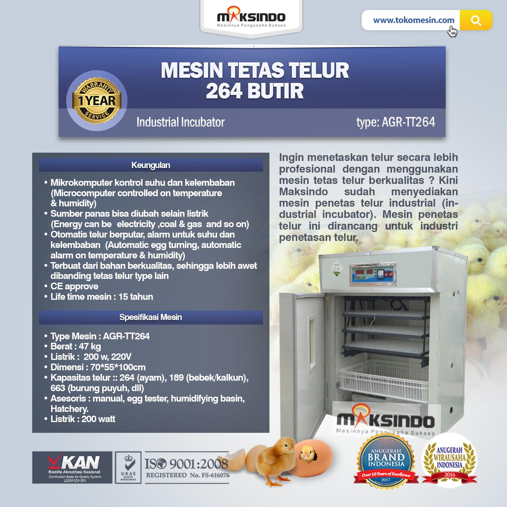 Jual Mesin Tetas Telur Industri 264 Butir (Industrial Incubator) di Bekasi