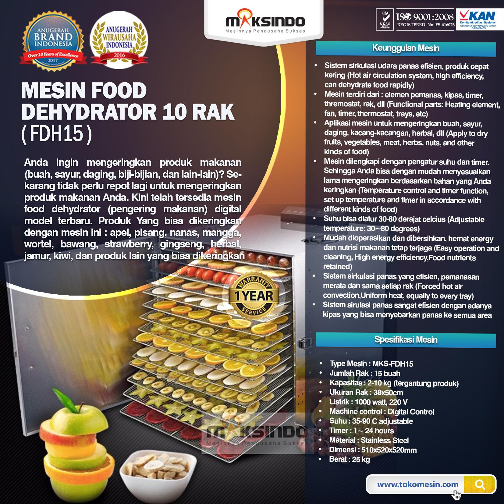 Jual Mesin Food Dehydrator 15 Rak (FDH15) di Bekasi