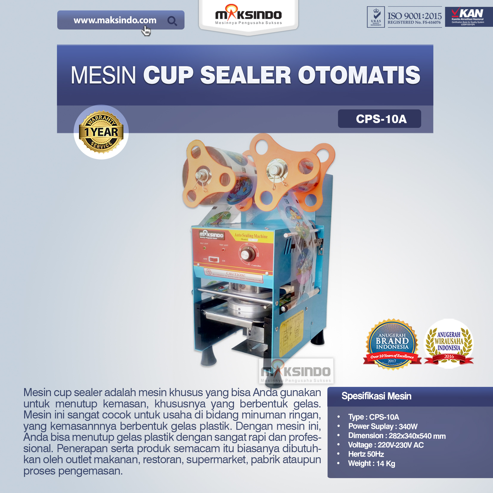 Jual Mesin Cup Sealer Otomatis (CPS-10A) di Bekasi