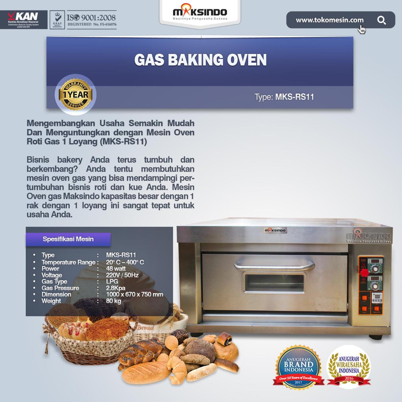 Jual Mesin Oven Roti Gas 1 Loyang (MKS-RS11) di Bekasi