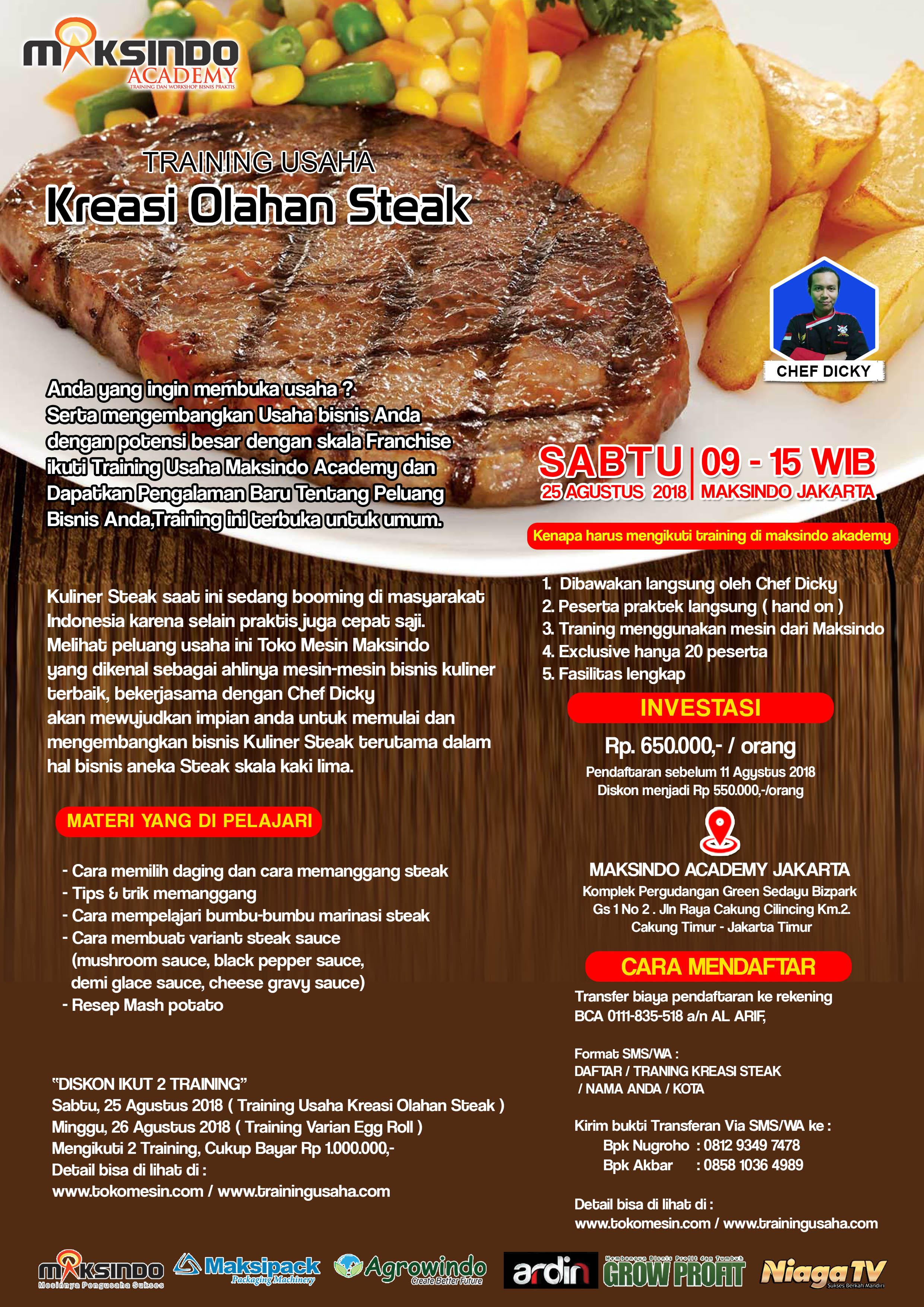 Training Usaha Kreasi Olahan Steak,Sabtu 25 Agustus 2018