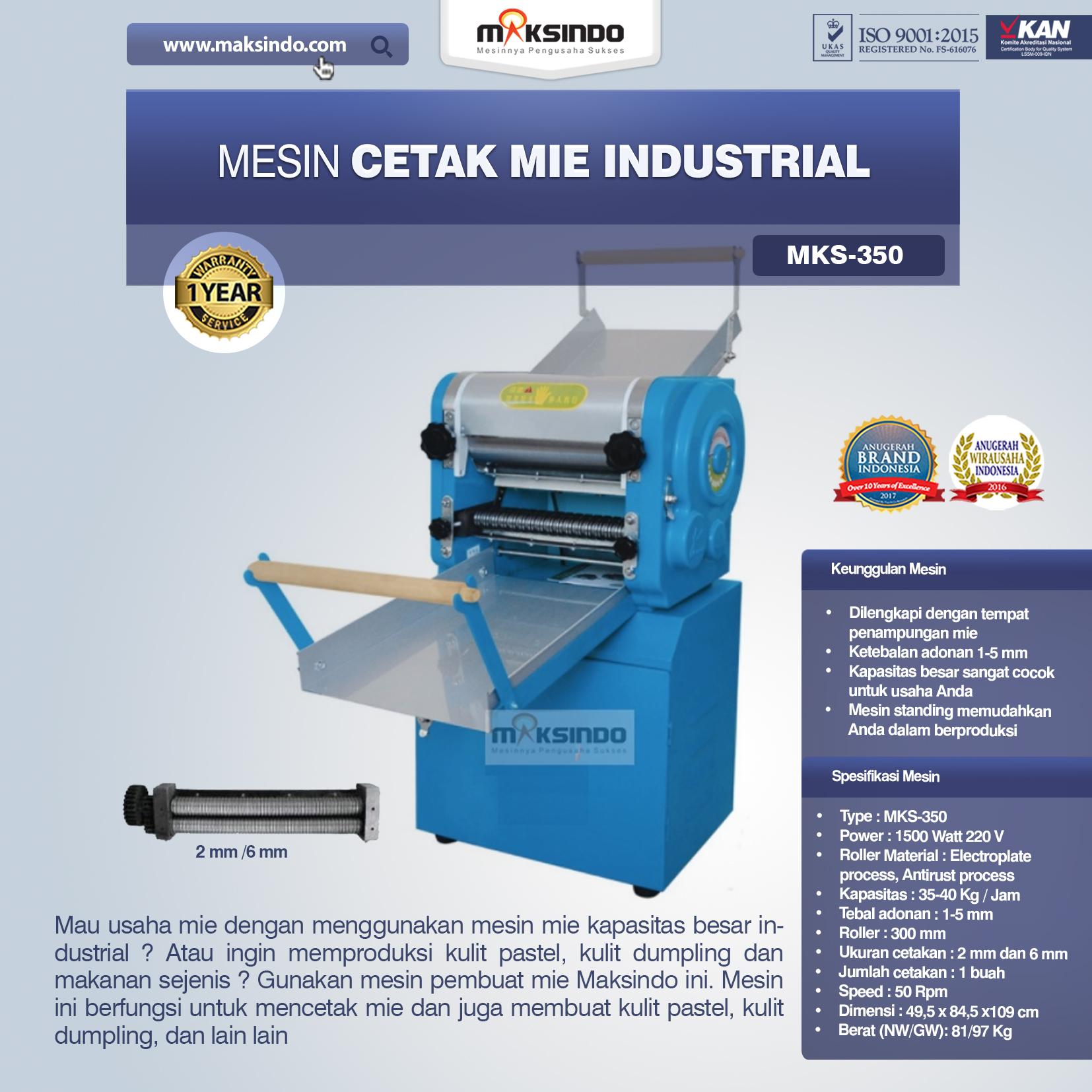 Jual Mesin Cetak Mie Industrial (MKS-350) di Bekasi