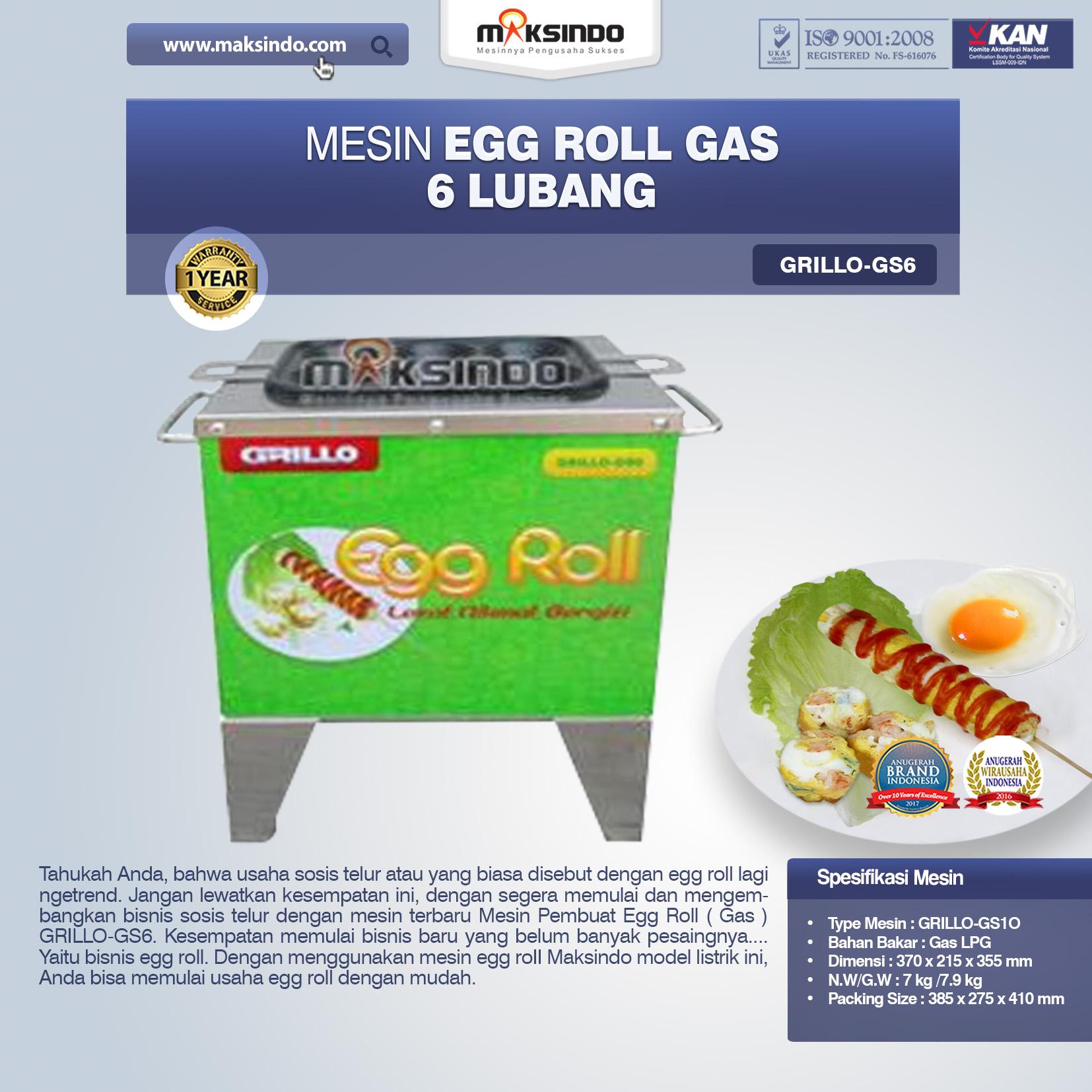 Jual Mesin Egg Roll Gas 6 Lubang GRILLO-GS6 di Bekasi