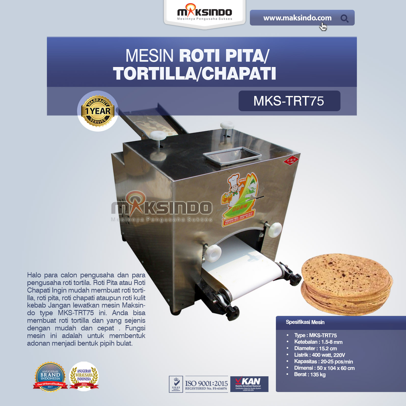 Jaul Mesin Roti Pita/Tortilla/Chapati MKS-TRT75 Di Bekasi