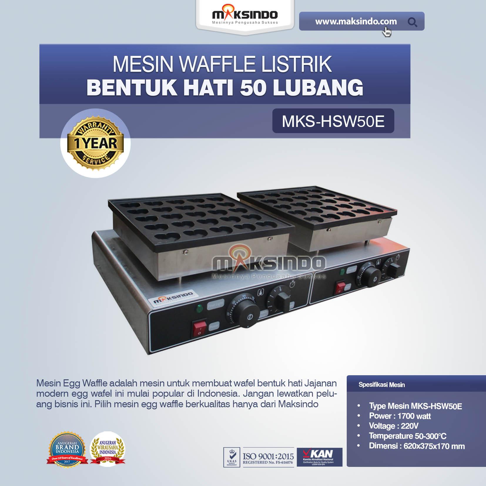 Jual Mesin Waffle Listrik Bentuk Hati 50 Lubang MKS-HSW50E Di Bekasi