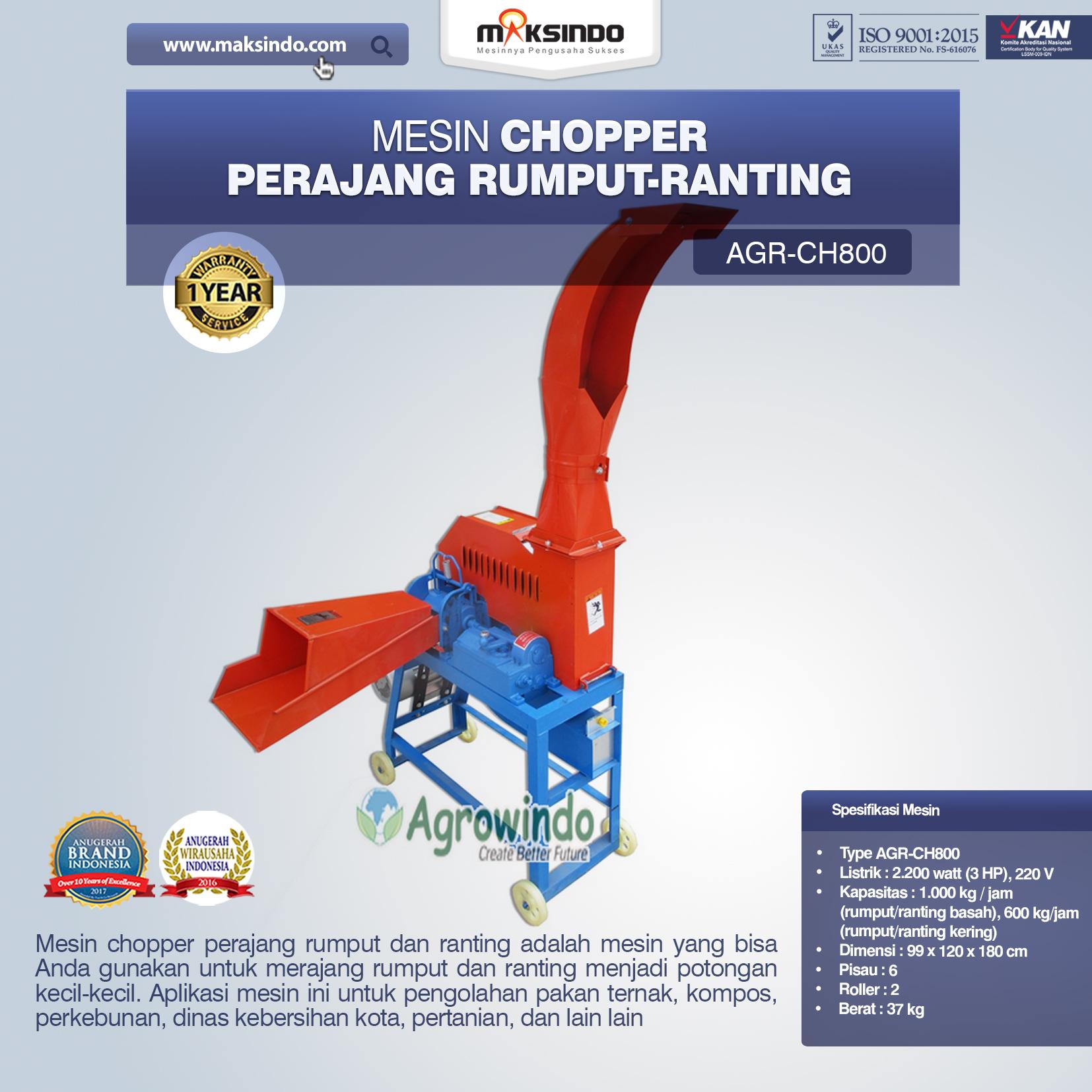 Jual Mesin Chopper Perajang Rumput-Ranting (AGR-CH800) di Bekasi