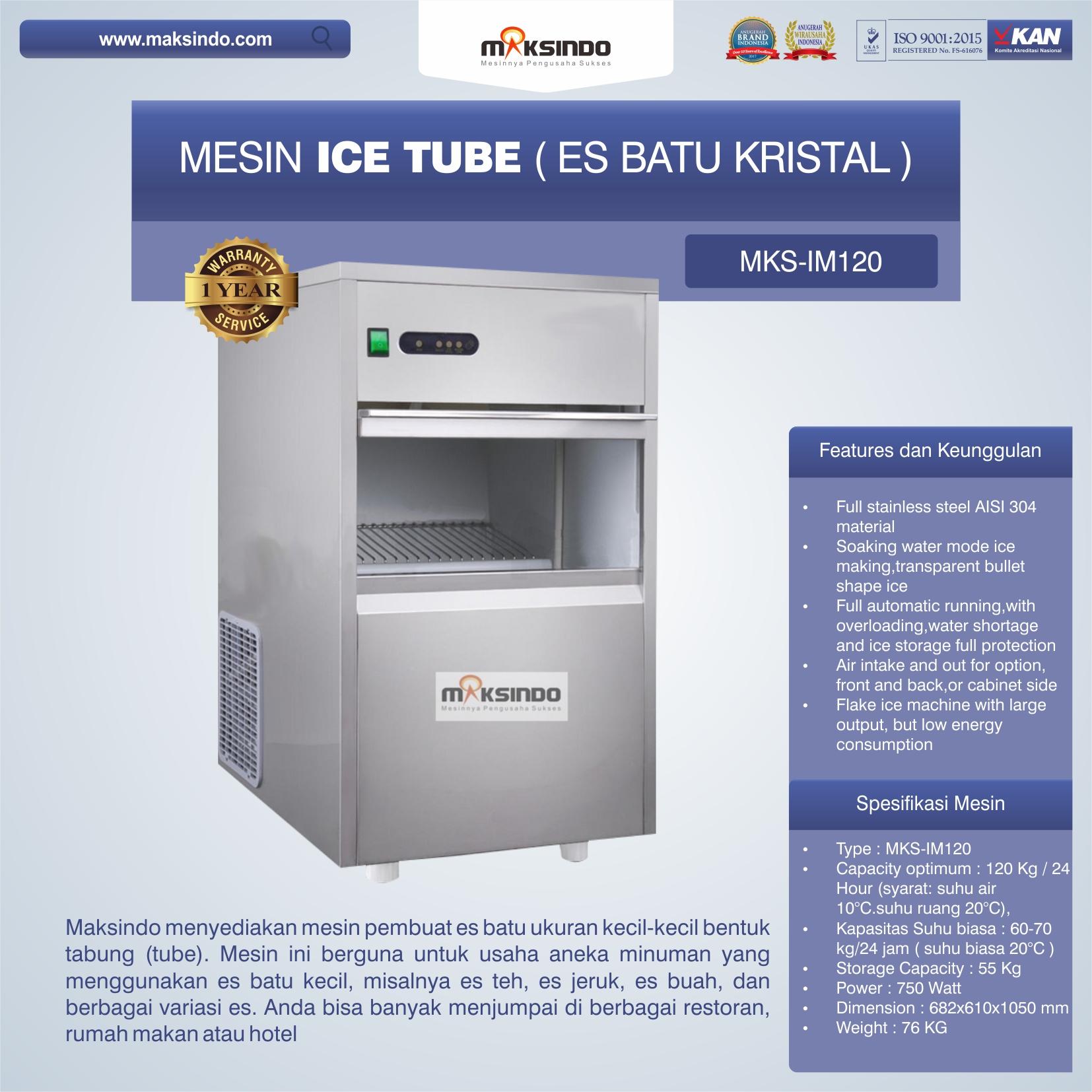 Jual Mesin Ice Tube (Es Batu Kristal) – IM120 di Bekasi