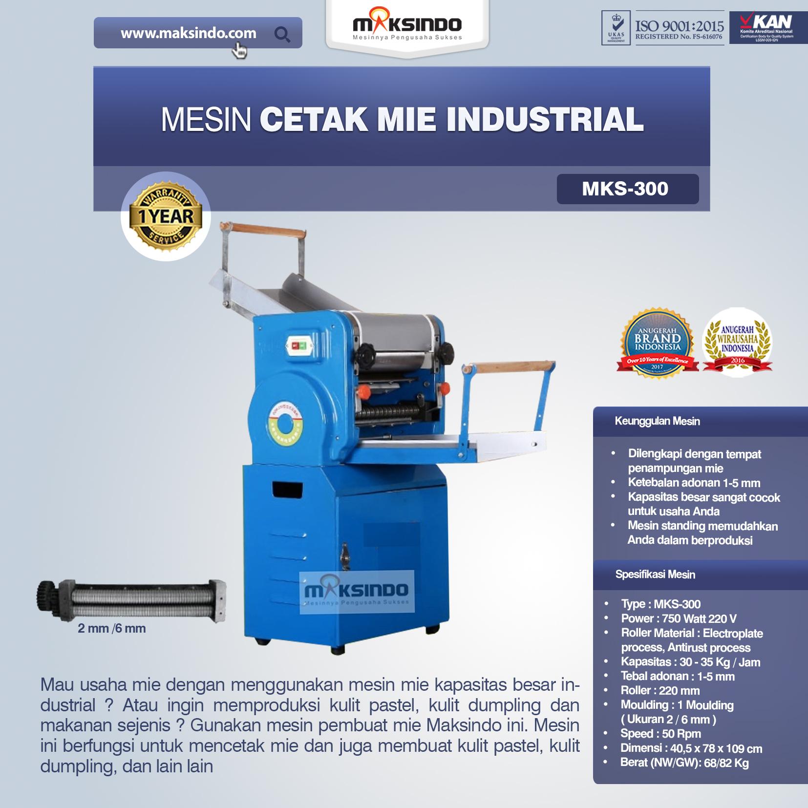 Jual Mesin Cetak Mie Industrial (MKS-300) di Bekasi