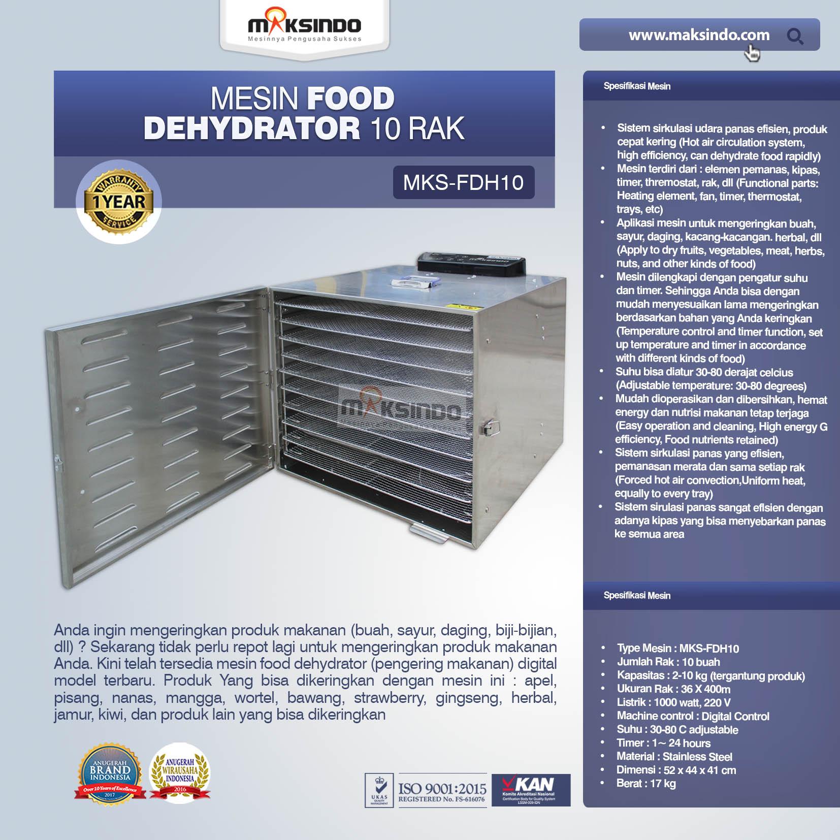 Jual Mesin Food Dehydrator 10 Rak (FDH10) di Bekasi