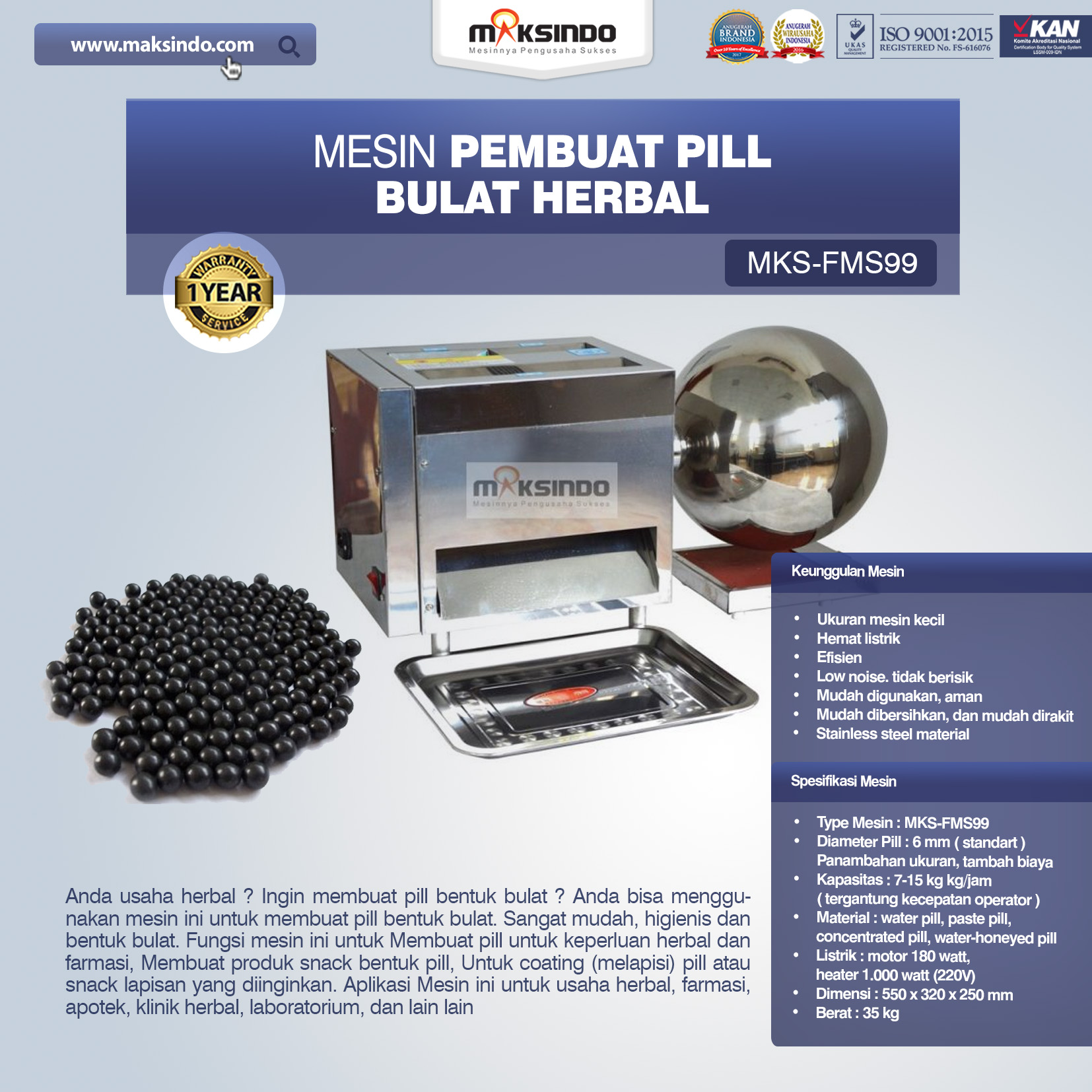 Jual Mesin Pembuat Pill Bulat Herbal (FMS99) di Bekasi