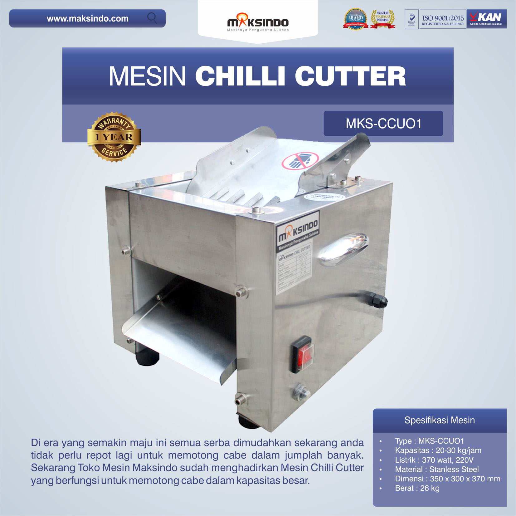 Jual Mesin Chilli Cutter MKS-CCU01 di Bekasi