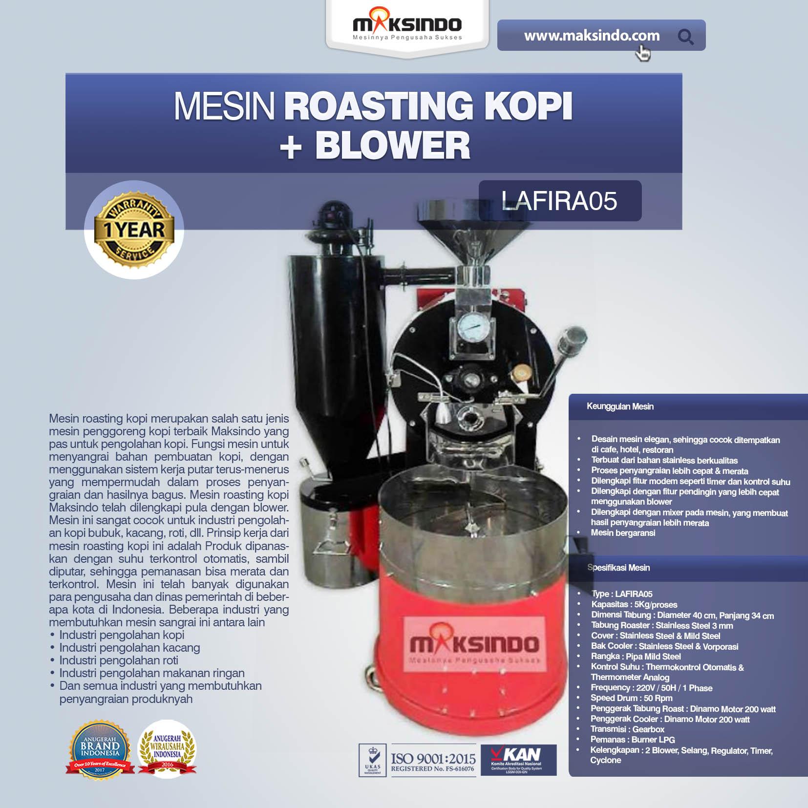 Jual Mesin Roasting Kopi + Blower LAFIRA05 di Bekasi