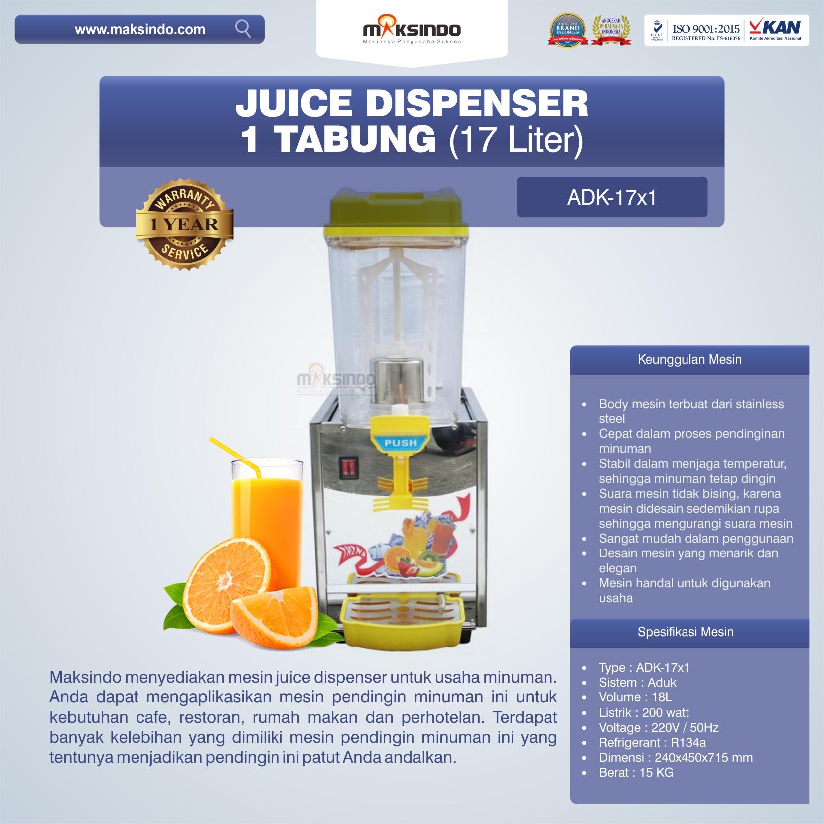Jual Mesin Juice Dispenser (ADK-17×1) di Bekasi
