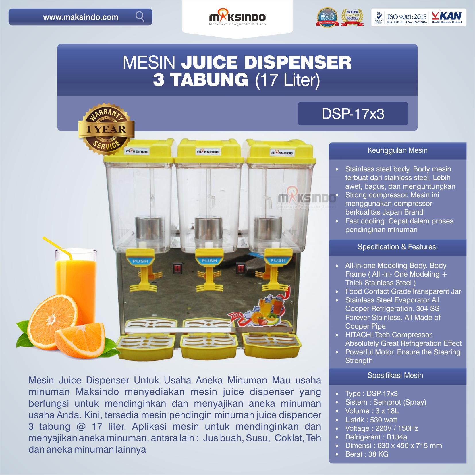 Jual Mesin Juice Dispenser 3 Tabung (17 Liter) – DSP17x3 di Bekasi