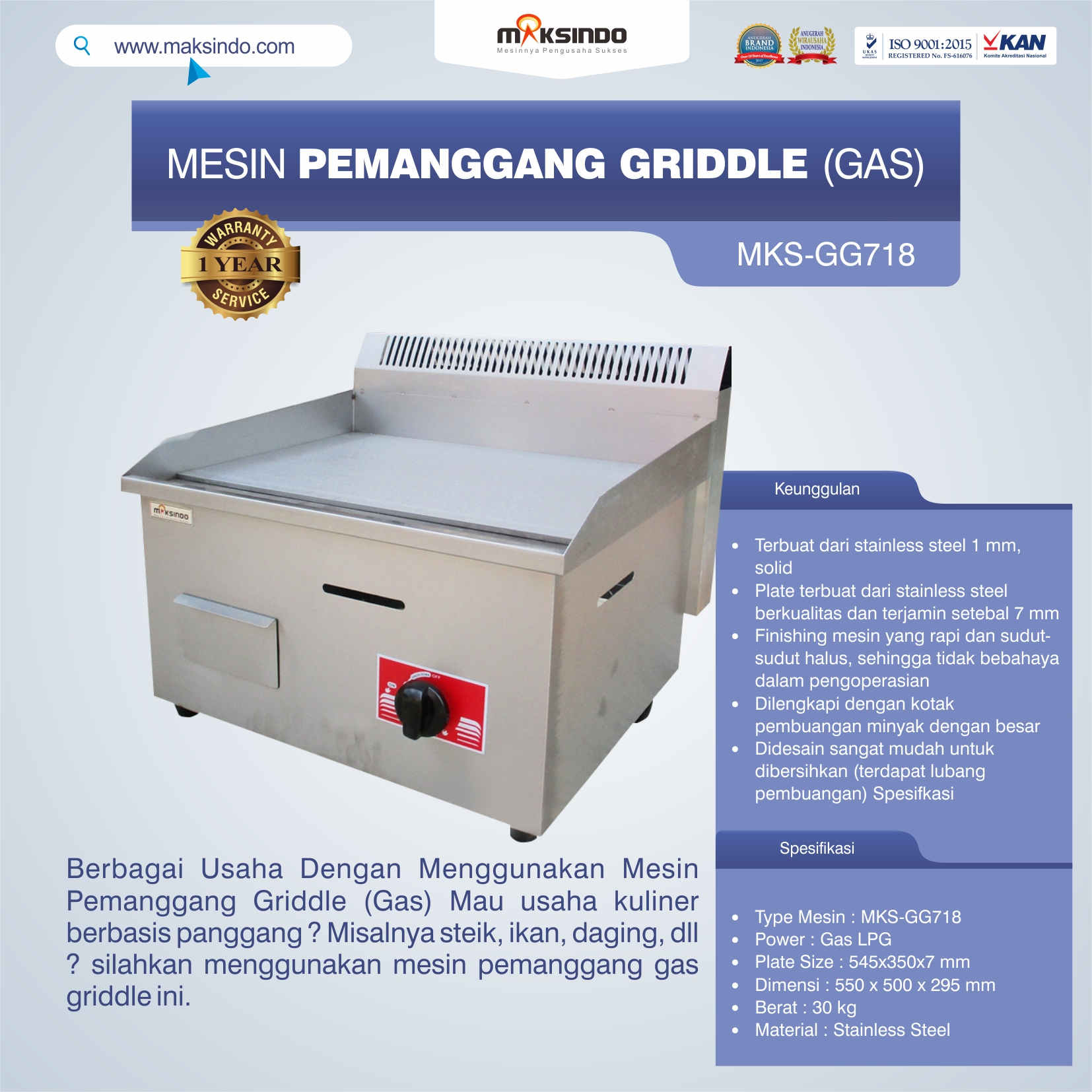 Jual Mesin Pemanggang Griddle (GAS) – GG718 di Bekasi