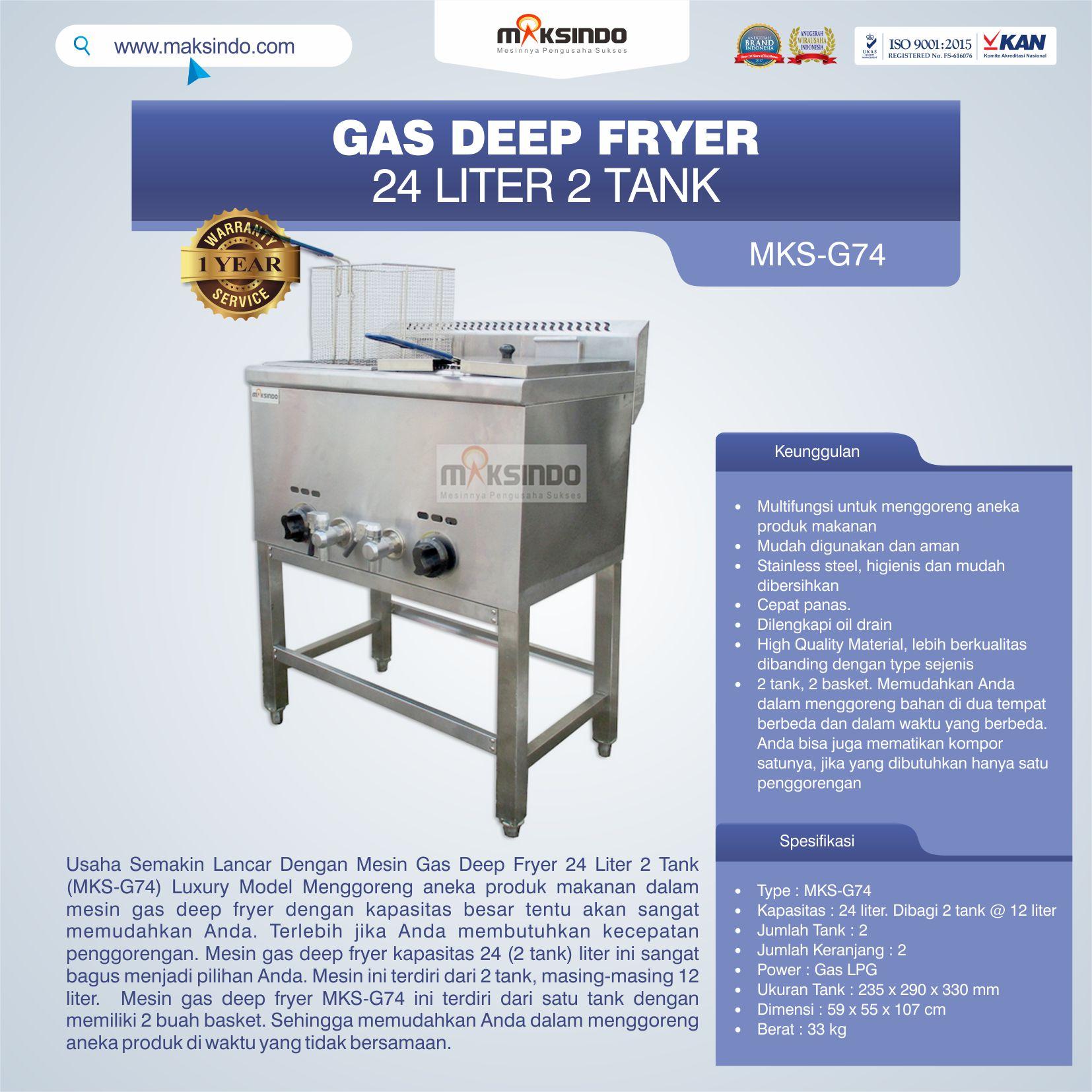 Jual Gas Deep Fryer 24 Liter 2 Tank (G74) di Bekasi
