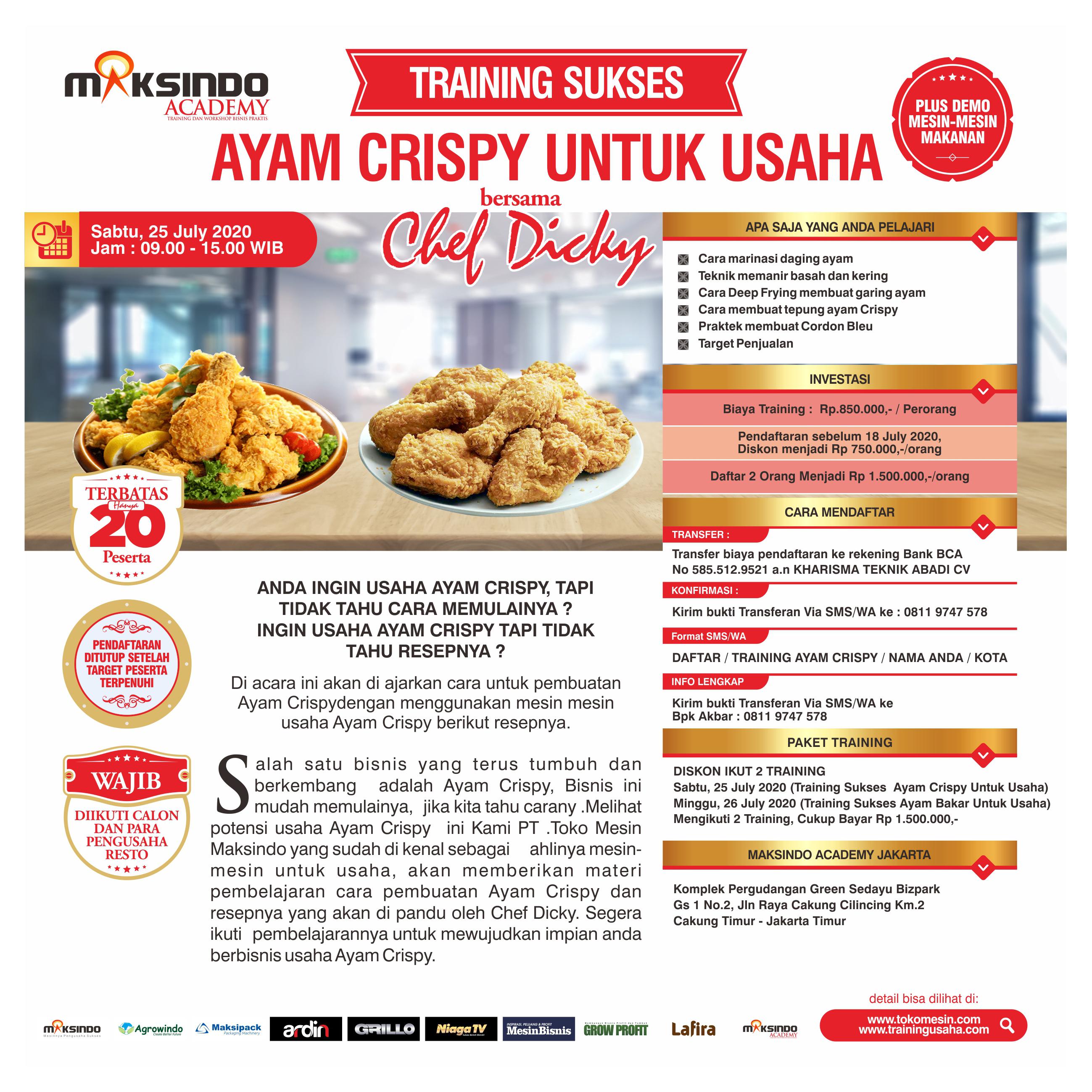 Training Sukses Ayam Crispy Untuk Usaha Sabtu, 25 July 2020