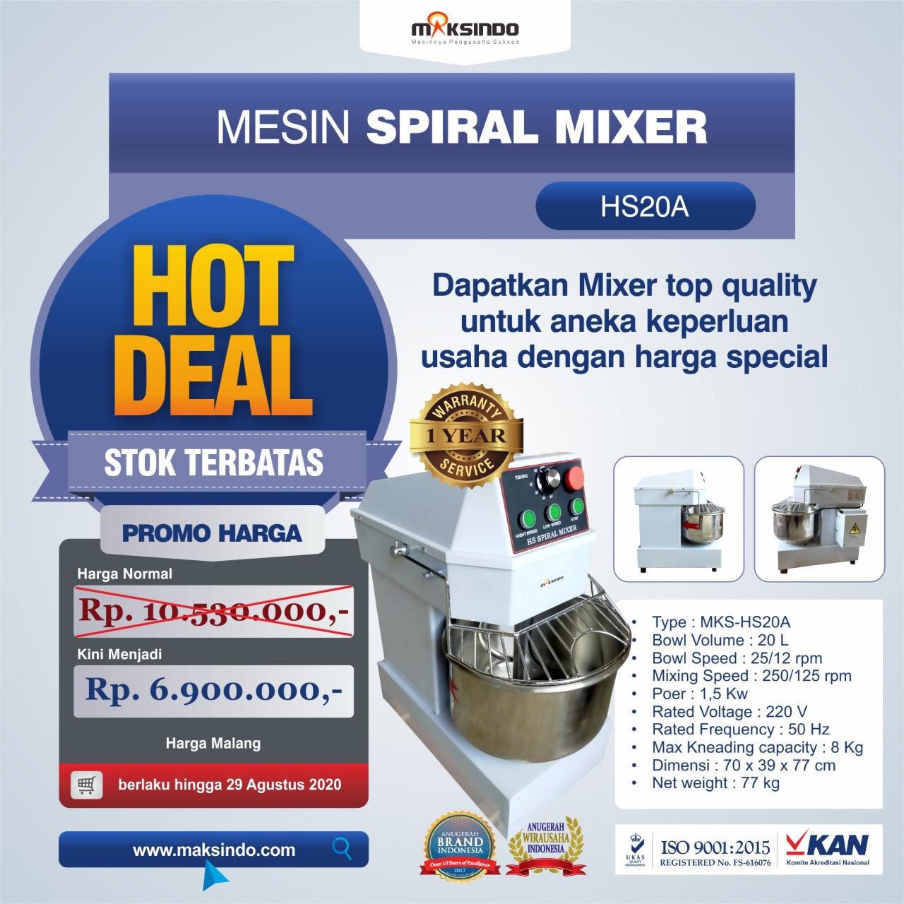 Jual Mesin Mixer Roti SPIRAL MKS-HS20A di Bekasi