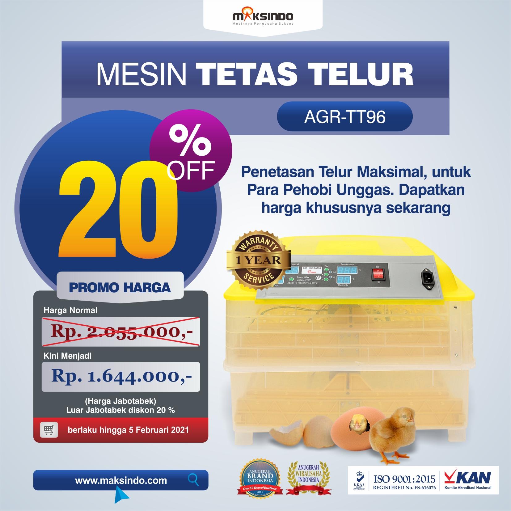 Jual Mesin Penetas Telur 96 Butir Otomatis – AGR-TT96 di Bekasi