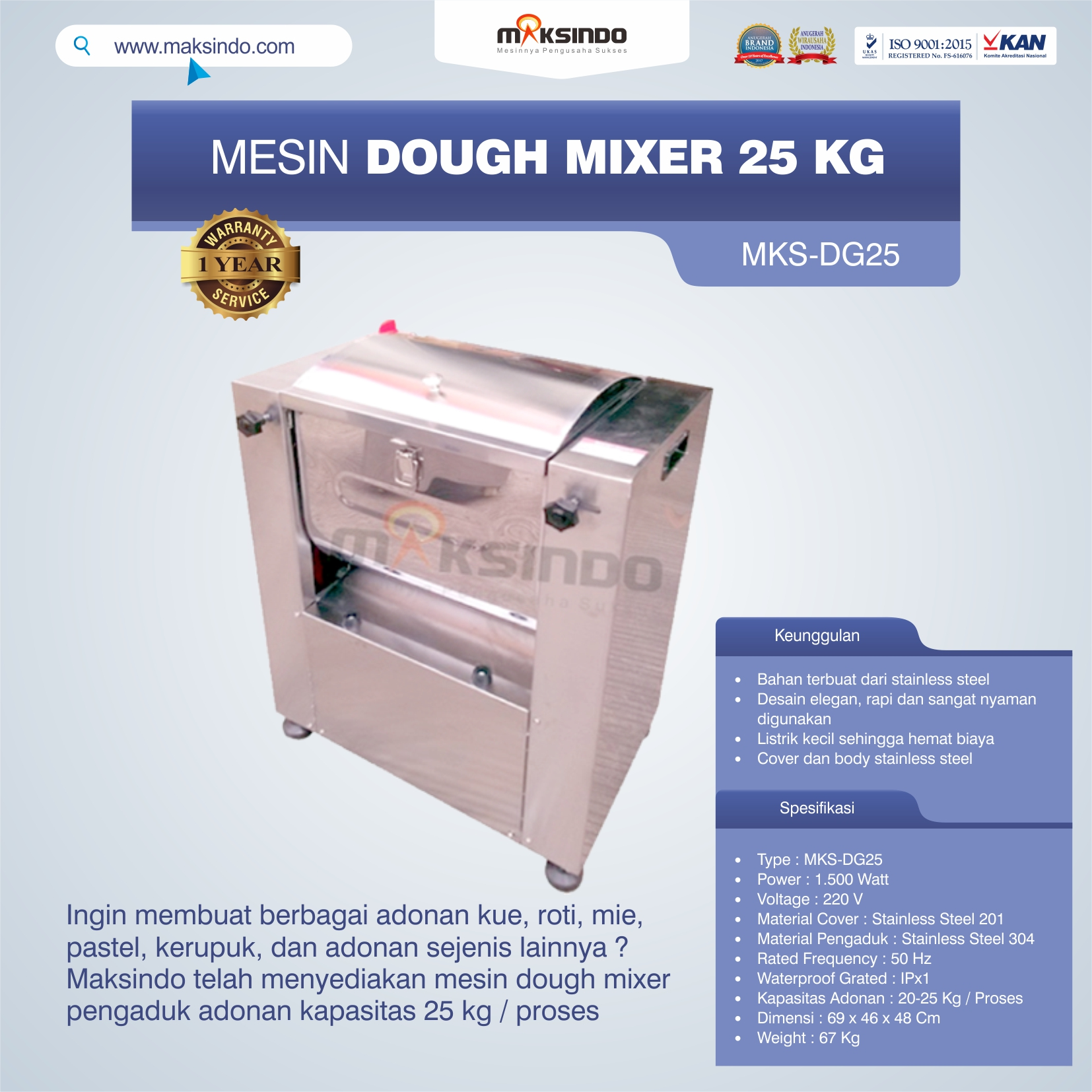 Jual Mesin Dough Mixer 25 kg (MKS-DG25) di Bekasi