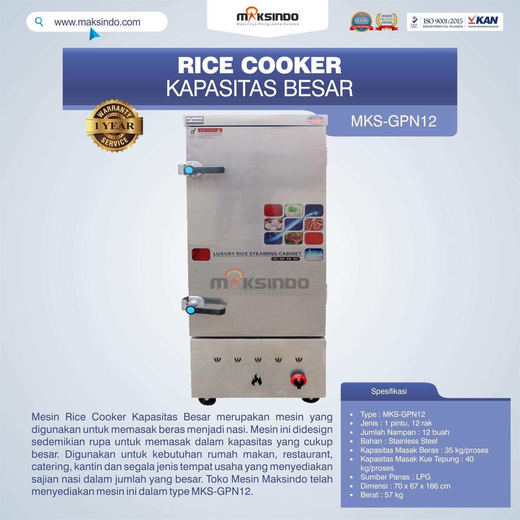 Jual Mesin Rice Cooker Kapasitas Besar MKS-GPN12 di Bekasi