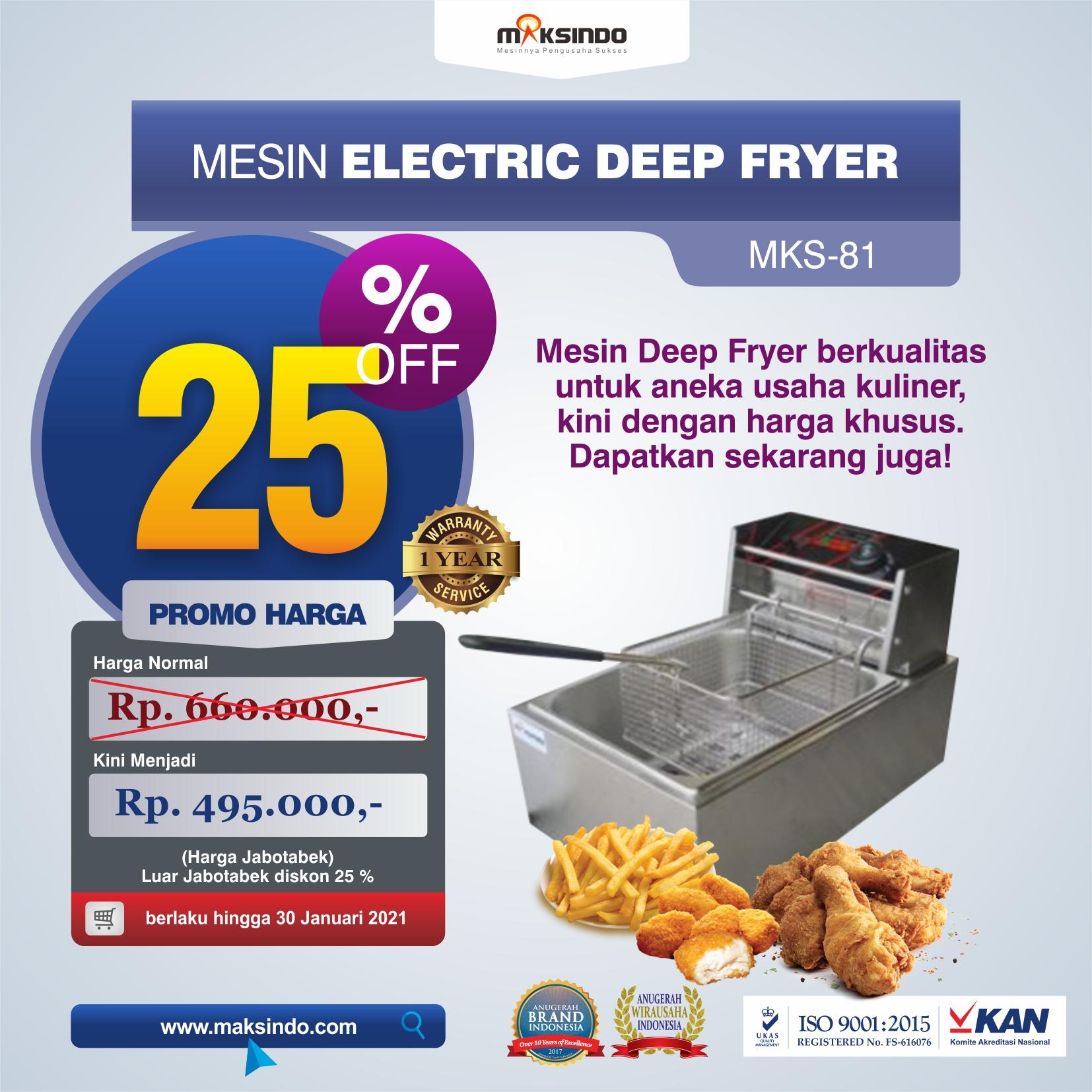 Jual Mesin Electric Deep Fryer MKS-81 di Bekasi