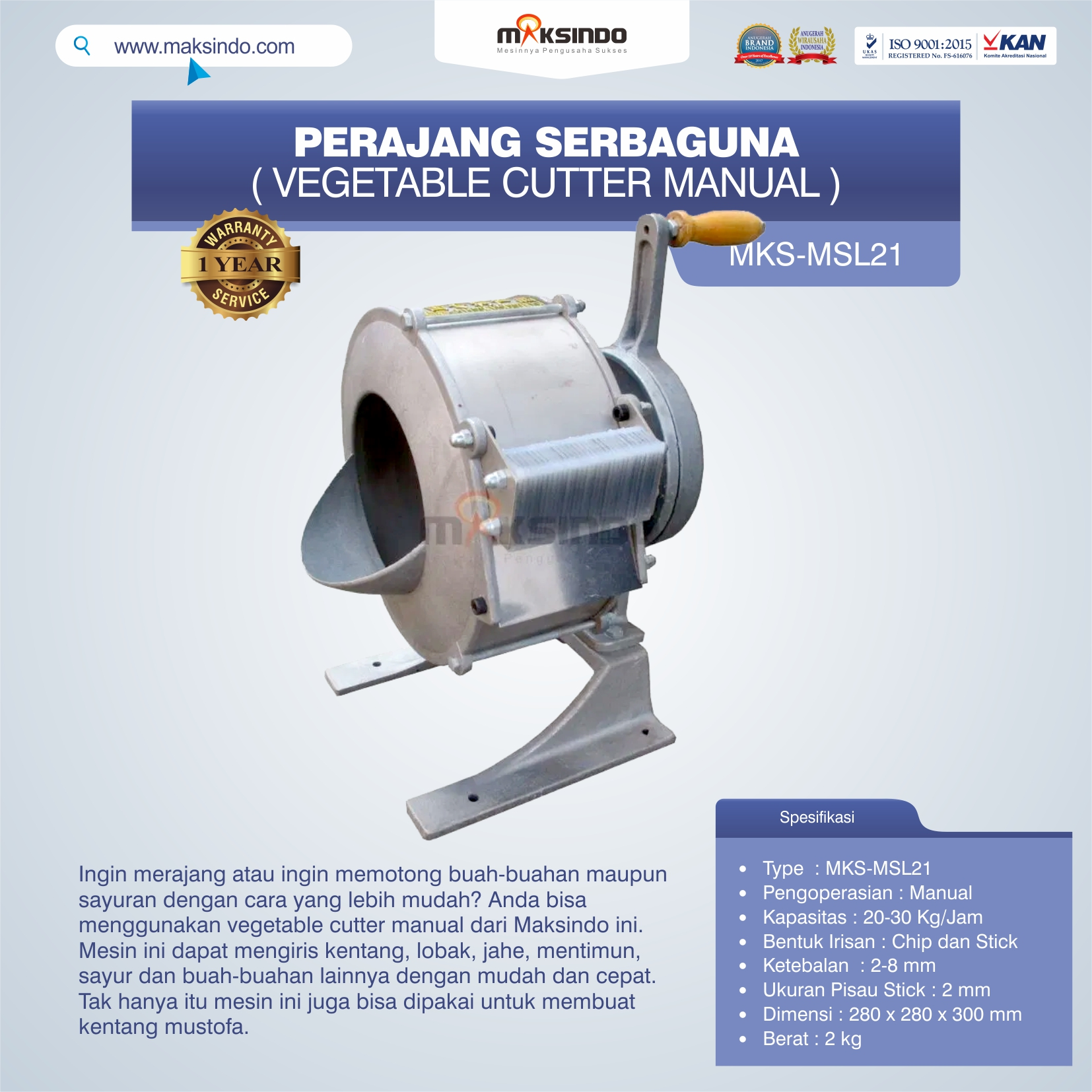 Jual Vegetable Cutter Manual MKS-MSL21 Di Bekasi