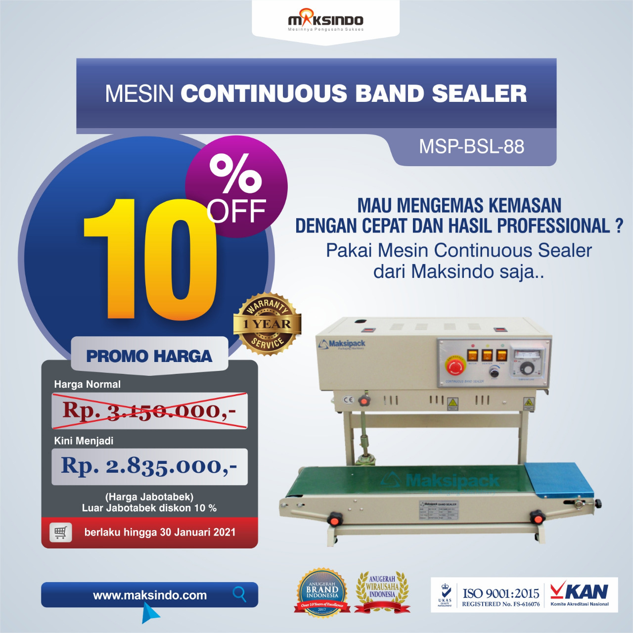 Jual Mesin Continuous Band Sealer MSP-BSL-88 Di Bekasi