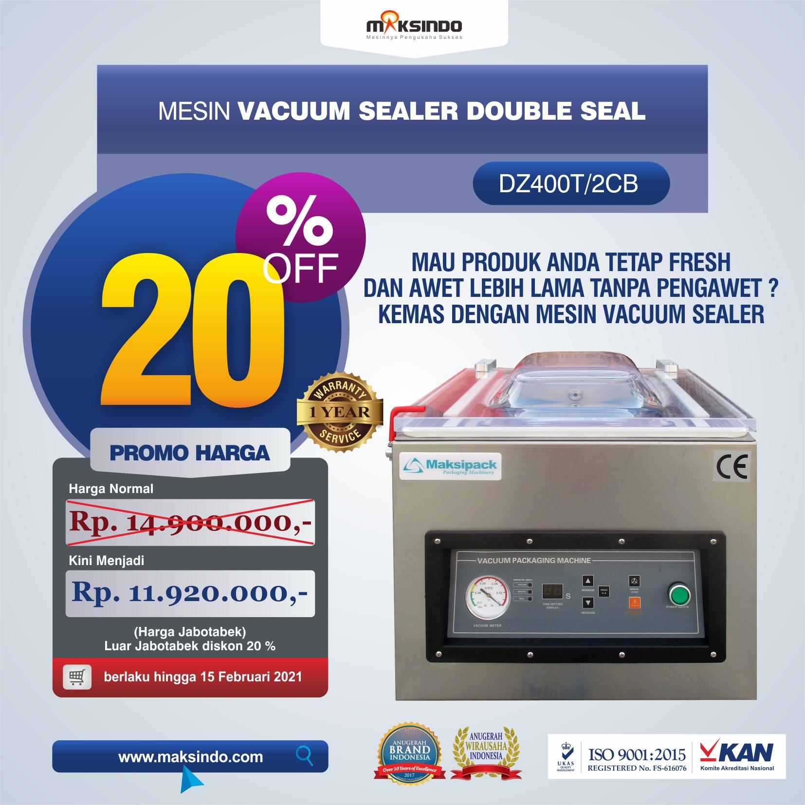 Jual Vacuum Sealer Double Seal DZ400T/2CB di Bekasi