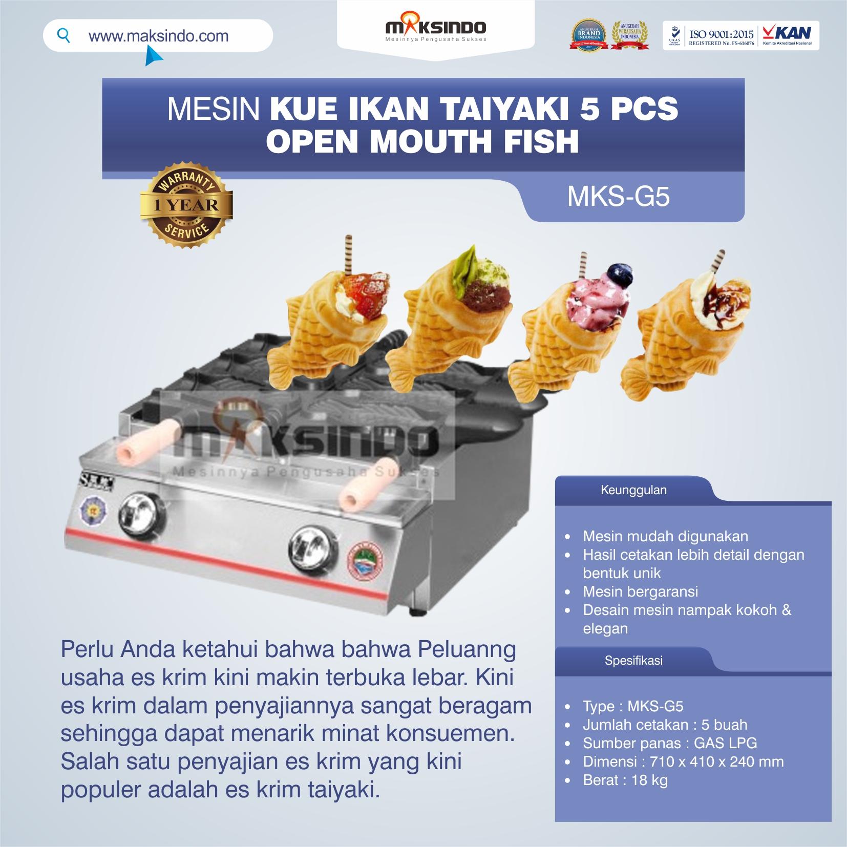 Jual Mesin Kue Ikan Taiyaki 5 Pcs – Open Mouth Fish di Bekasi