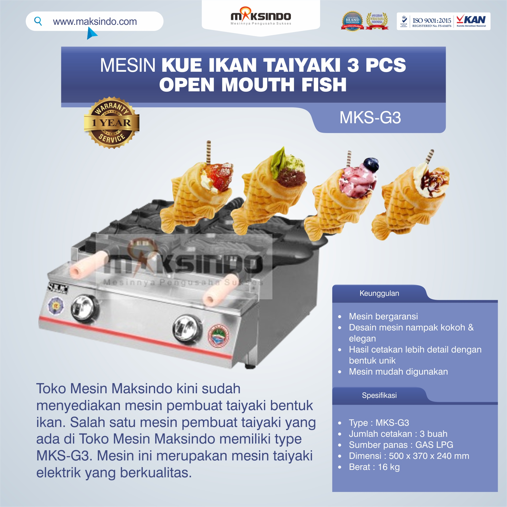 Jual Mesin Kue Ikan Taiyaki (3 pcs) – Open Mouth Fish di Bekasi