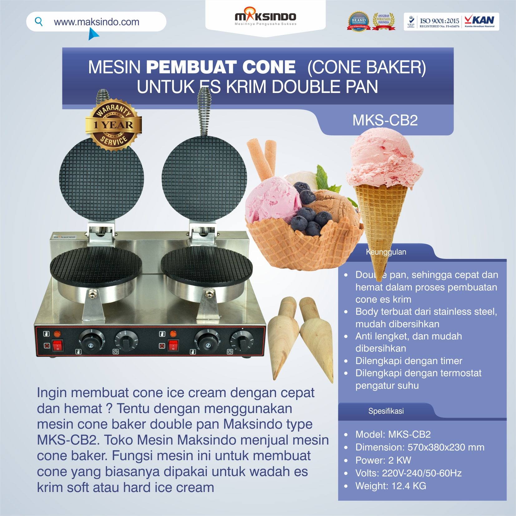 Jual Pembuat Cone Ice Cream (CB2) di Bekasi