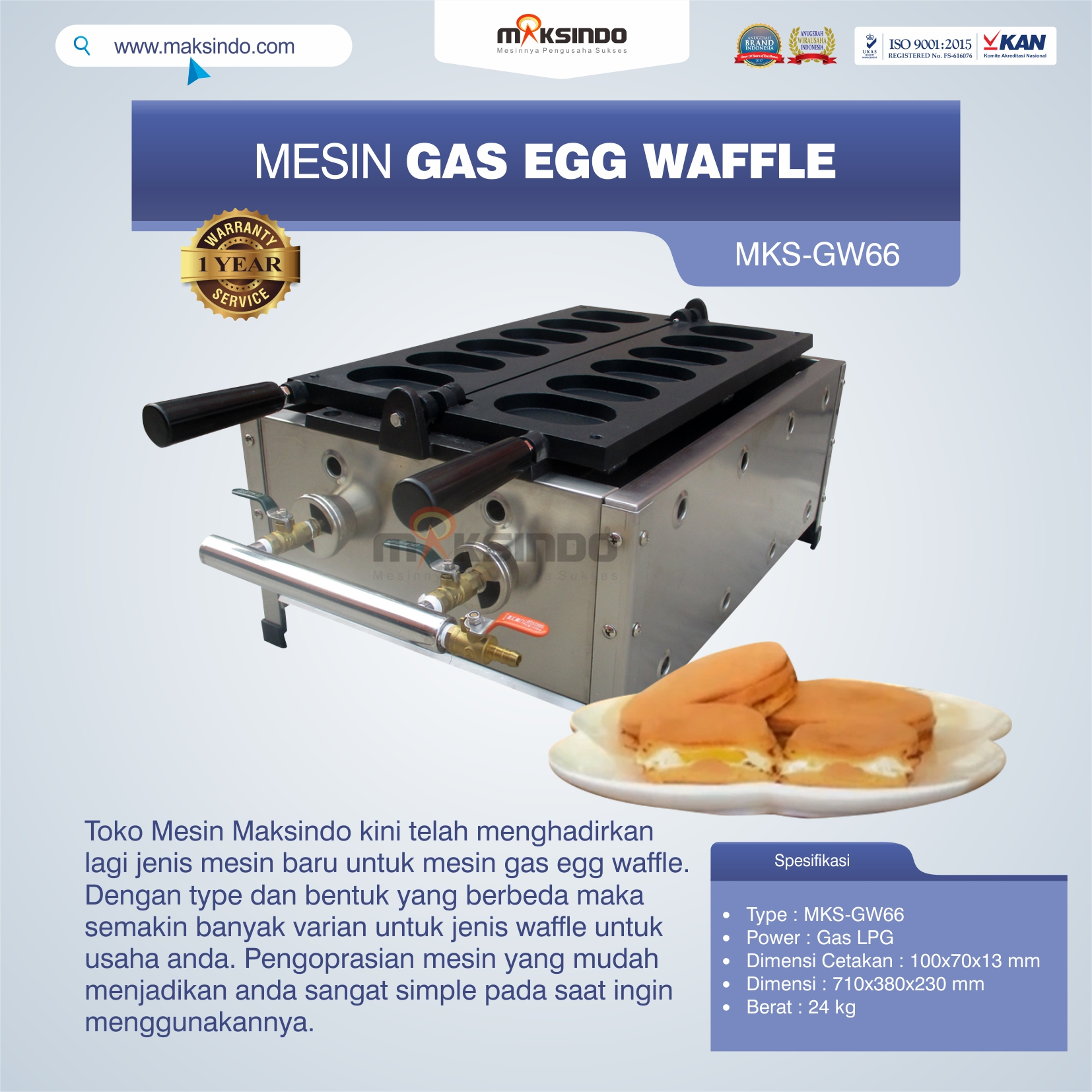 Jual Mesin Gas Egg Waffle GW66 di Bekasi
