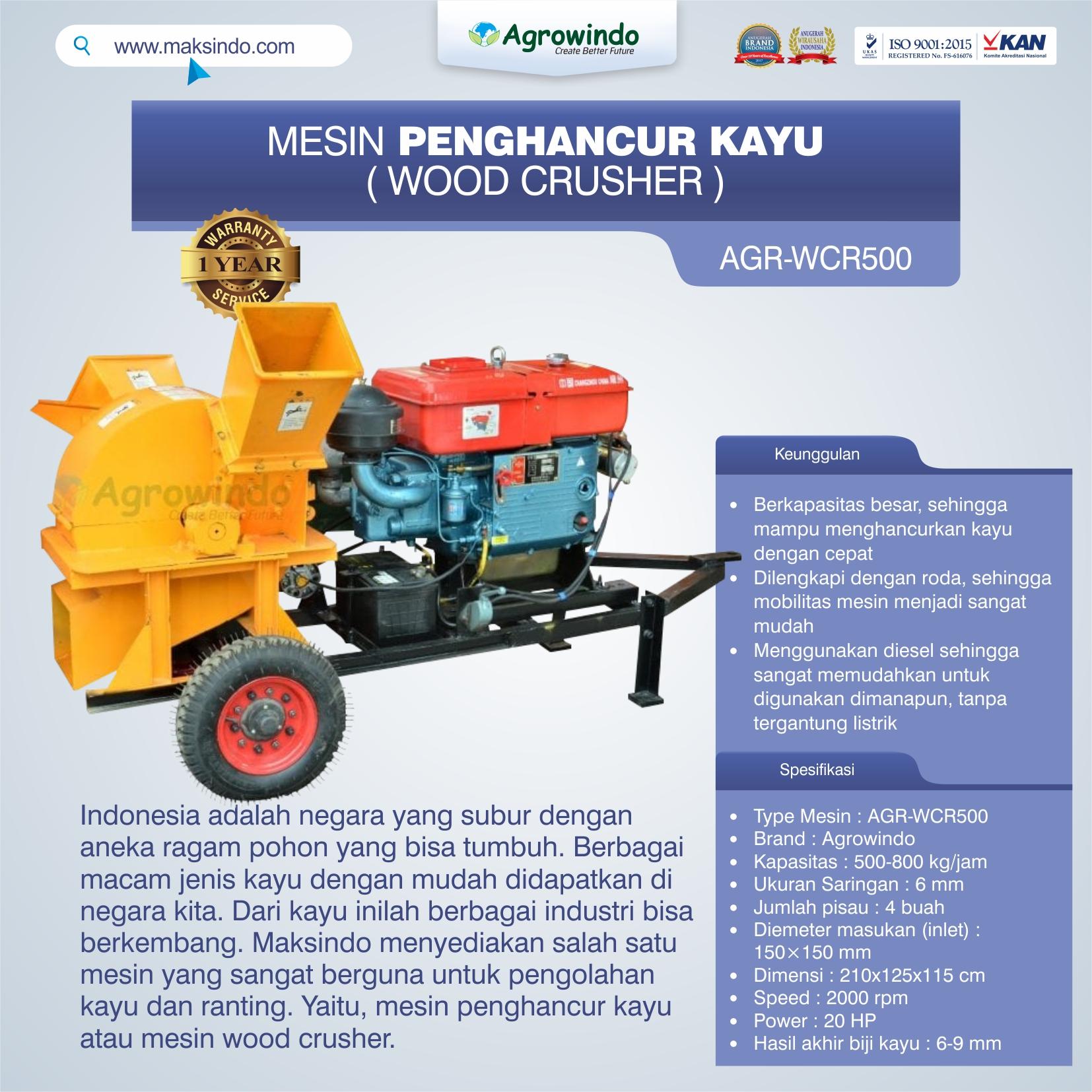 Jual Mesin Penghancur Kayu (wood crusher) AGR-WCR500 di Bekasi