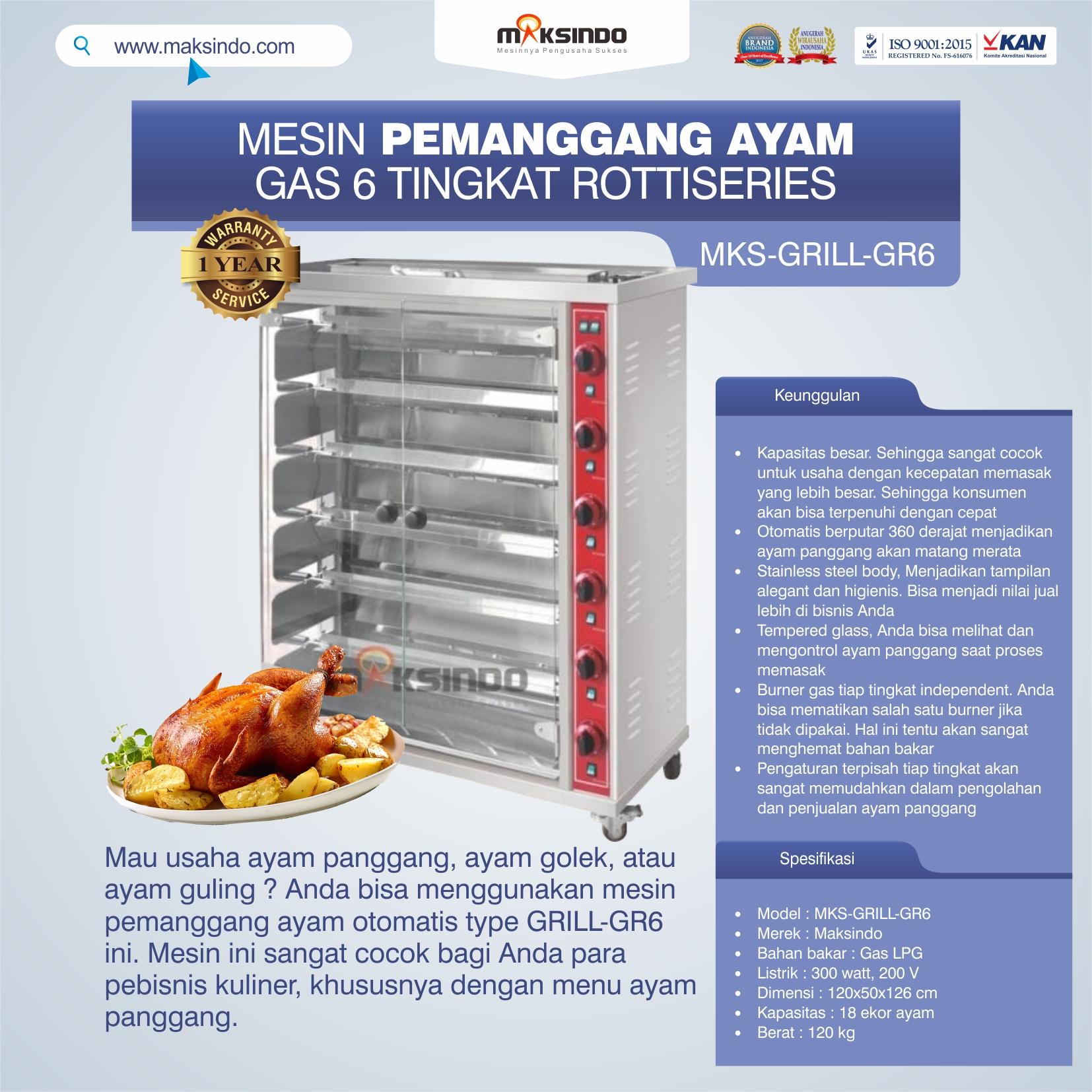 Jual Mesin Pemanggang Ayam Gas 6 Tingkat Rottiseries (GRILL-GR6) di Bekasi