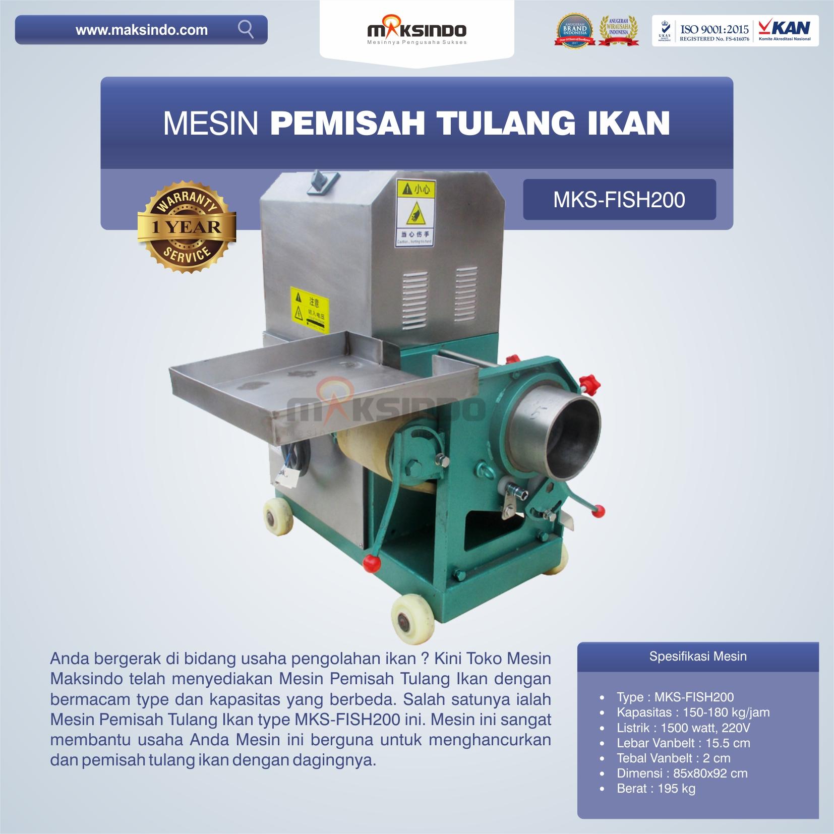 Jual Mesin Pemisah Tulang Ikan MKS-FISH200 Di Bekasi